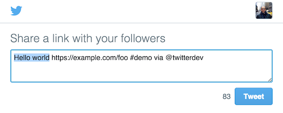 Screenshot of a Twitter composer pre-populated with web intent values