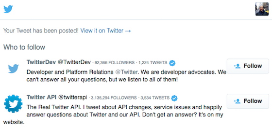 Screenshot of a Tweet web intent confirmation page with related account follow suggestions